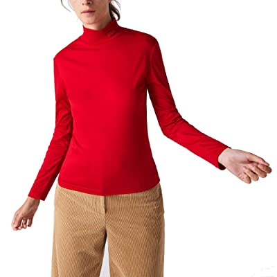 Lacoste Long Sleeve Solid Color Turtleneck Tee (Red) Women