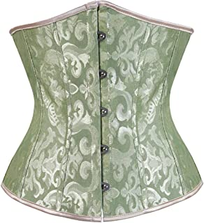 Zhitunemi Women's Lace Up Boned Jacquard Brocade Waist Training Underbust Corset