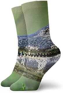 tyui7, Calcetines de compresión antideslizantes de cocodrilo con mariposas Calcetines deportivos de 30 cm Cosy Athletic para hombres, mujeres, niños