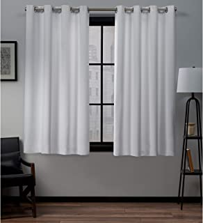 Exclusive Home Curtains Academy Total Blackout Grommet Top Curtain Panel Pair, White, 52x63