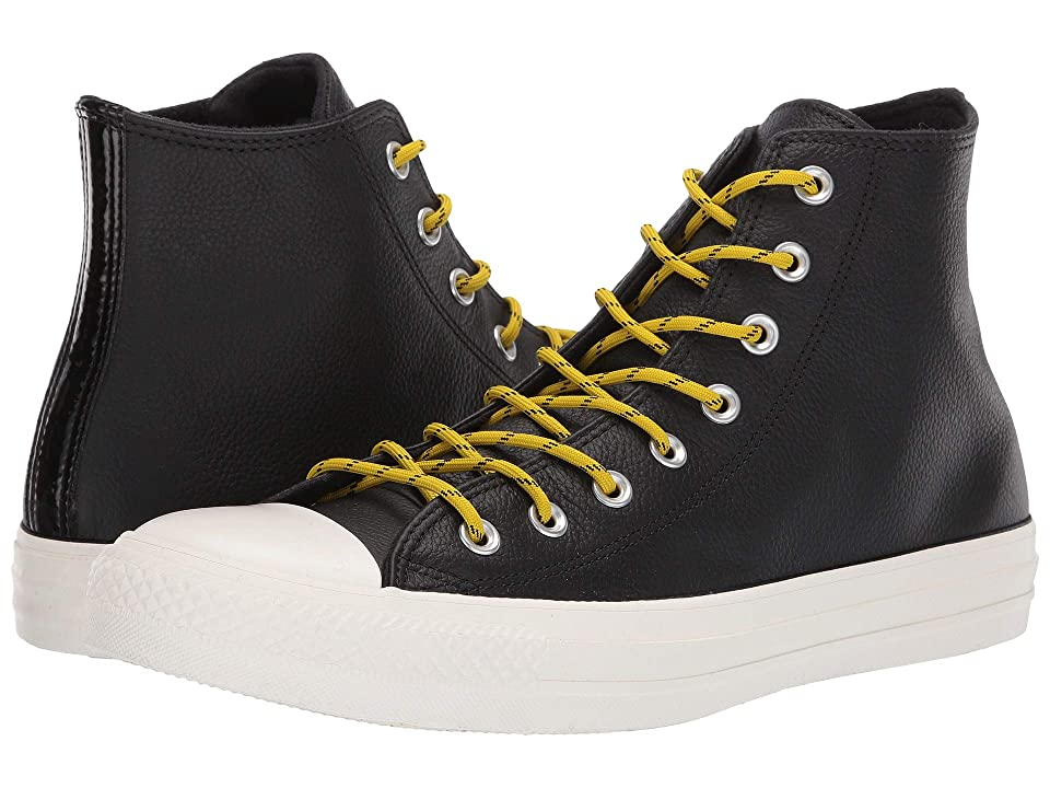 Converse Chuck Taylor(r) All Star(r) Limo Leather Hi (Black/Bold Citron/Egret) Athletic Shoes