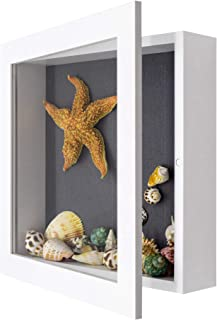 Golden State Art, 11x11 inch White Shadow Box Frame Display Case, 2-inch Depth, Great for Collages, Collections, Mementos (White)