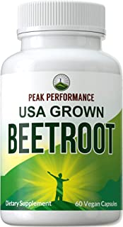 Beet Root Vegan Capsules Made with Organic Beet Root. USA Grown Beets Juice Powder Super Food Pills 1200 mg. Nitric Oxide ...