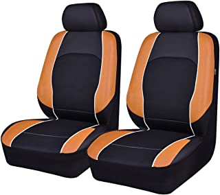 NEW ARRIVAL -Univesal Car Seat Covers Two Front Faux Leather For Cars, Trucks, Suvs, VANS Fits Airbag Compatible (black with orange)