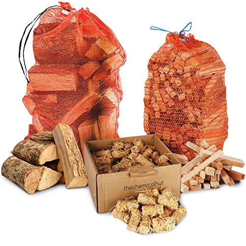Winter Firewood Pack - 15kg Kiln Dried Hardwood Ash Logs + 3kg Kindling + 100x Natural Wood Wool & Wax Dipped Firelighters Comes with TheChemicalHut® Anti-bac pen.