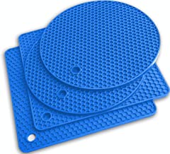 Q's INN Blue Silicone Trivet Mats   Hot Pot Holders   Drying Mat. Our potholders Kitchen Tool is Heat Resistant to 440°F, ...