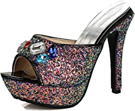 Collocation-Online Bling Glitter PU Super High Heel Shoes Women Open Peep Toe Colorful Crystal Sandals