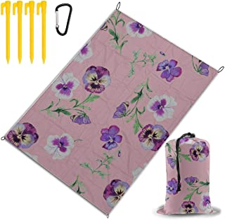 "MBVFD Pansy Flower Wild Spring Large Picnic Blanket Cute Picnic Blanket Beach Blanket Kids Blanket Folding Picnic 78""x57""(..."