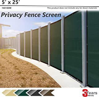 BOUYA Green Privacy Fence Screen 5' x 25' Heavy Duty for Chain-Link Fence Privacy Screen Commercial Outdoor Shade Windscreen Mesh Fabric with Brass Gromment 160 GSM 88% Blockage UV -3 Years Warranty