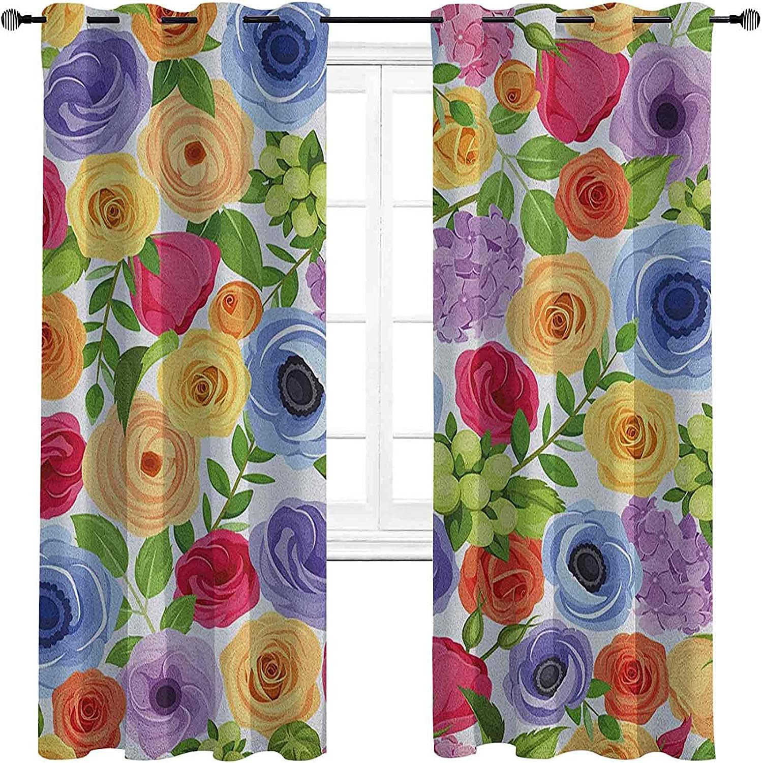 Anemone Flower High-Strength Blackout 35% OFF Curtains Colorful Ornate Phoenix Mall