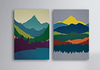 456Yedda Canvas Print Set of 2 Modern Landscape Canvas Prints Mountain Art Mid Century Modern Art Abstract Paintings Original Art Bedroom Bathroom Decoration Wall Art Wall Decor