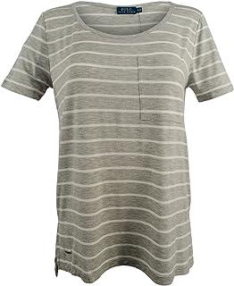Women's Striped Scoop Neckline Jersey T-Shirt Top