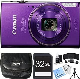 Canon PowerShot ELPH 360 HS Purple Digital Camera 32GB Card Bundle Includes Camera, 32GB Memory Card, Reader, Wallet, Case, Mini Tripod, Screen Protectors, Cleaning Kit and Beach Camera Cloth