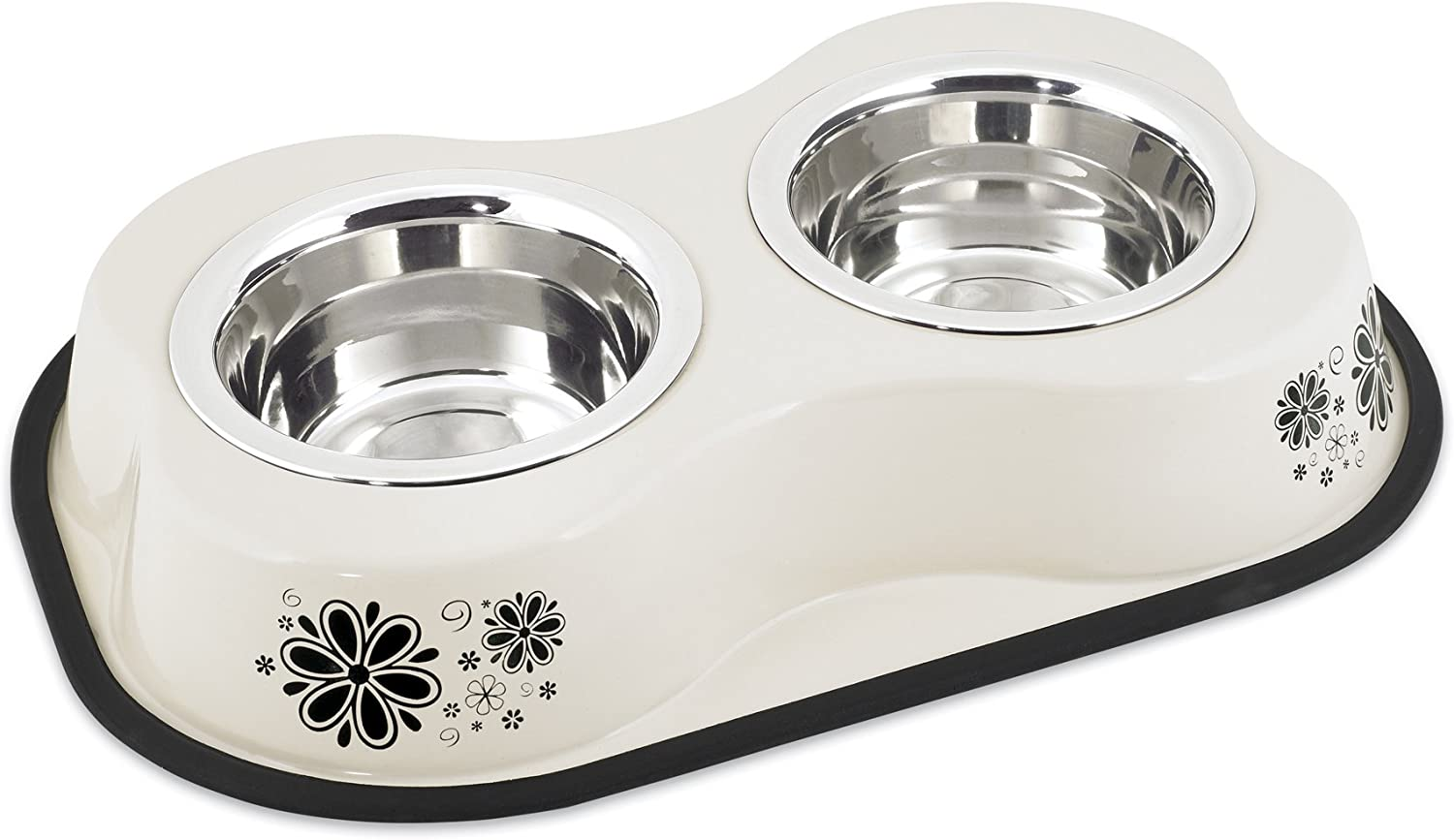 Buddy'S Line Bone Shaped Stainless Steel Double Diners Pet Bowl, 1Pint