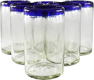 Mexican Blue Rimmed Drinking Glasses, Lead Free Recycled Glass Hand Blown Heavy Thick Glassware Stemless Margarita Wine Cups Cobalt Kitchen Fiestaware Set of 6 Handcrafted Rustic 14 Oz