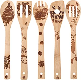 Christmas Kitchen Bamboo Wooden Spoons for Cooking, Christmas Tree Pattern Burned Slotted Spoon Turners Carved Non-Stick W...