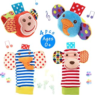 URUTOREO Baby Rattle, Baby Wrist Rattle and Foot Rattles Finder Socks Set, Developmental Soft Animal Rattles Monkey and El...