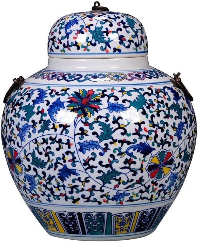 HTL 67% OFF of fixed price Blue Max 46% OFF and White Floral Ginge Ceramic Temple Porcelain Covered
