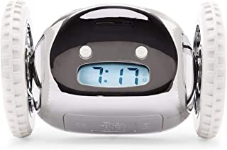 Clocky, the Original Alarm Clock on Wheels | for Adults and Kids (Best Loud for Heavy Sleeper Bed-Room) Cool, Fun Clockie Jump, Chase, Run-away, Move, Rolling (Chrome)