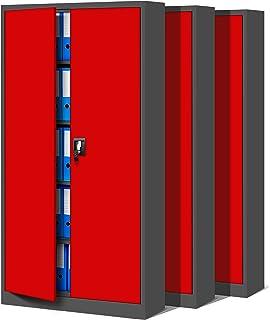 Jan Nowak by Domator24 Set de 3 Bureau C001 Armoire métallique 4 étagères tôle d'acier revêtement en Poudre 185 cm x 90 cm...