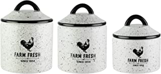 American Atelier Canister Set 3-Piece Ceramic Jars in Small, Medium, Large w/Airtight Lids for Cookies, Candy, Coffee, Flour, Sugar, Rice, Pasta, Cereal & More (Farm Fresh)