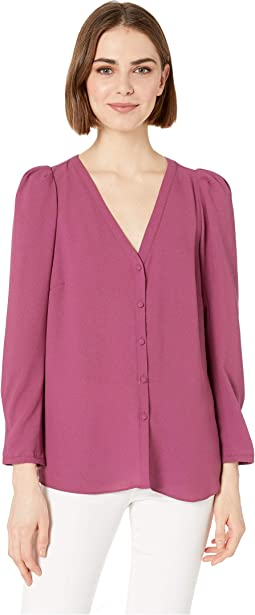 Puff Sleeve V-Neck Button Front Blouse