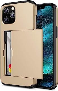 """ZUSLAB Slide Armor Card Holder Case for iPhone 12 Pro 6.1"""" & iPhone 12 6.1"""" Protective Shockproof Hard Back Cover - Gold"""