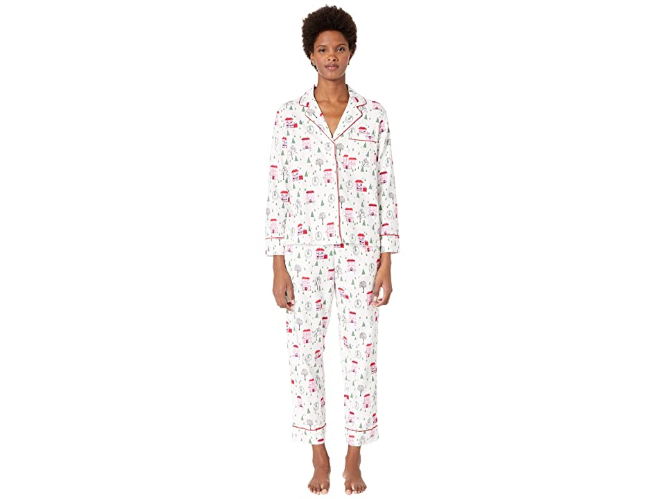 Kate Spade New York Brushed Twill Long Pajama Set (Brownstone) Women