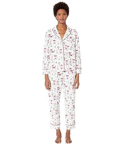 Kate Spade New York Brushed Twill Long Pajama Set (Brownstone) Women