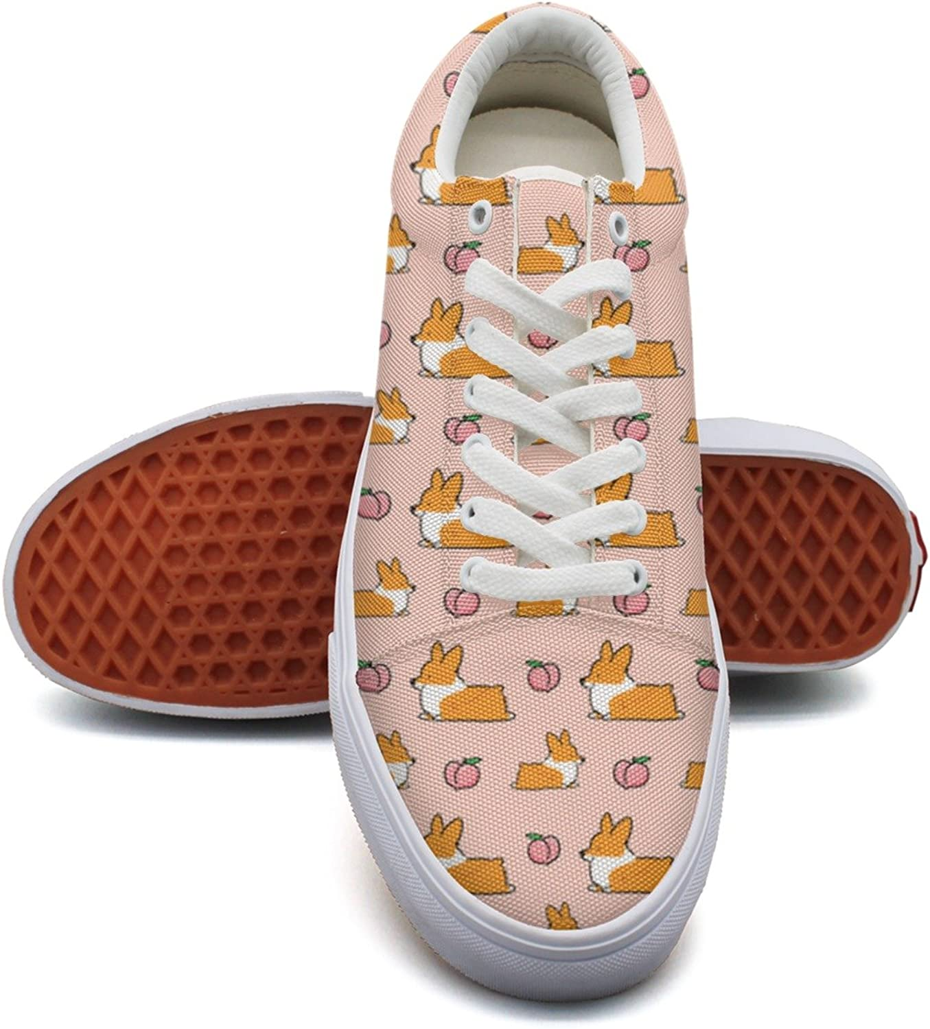 Corgi And Peach Humor Fashion Canvas Sneaker shoes For Womns 3D Printed Low Top Walking shoes