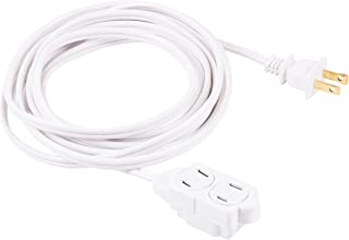 GE 12 Ft Extension Cord, 3 Outlet Power Strip, 2 Prong, 16 Gauge, Twist-to-Close Safety Outlet Covers, Indoor Rated, Perfect for Home, Office or Kitchen, UL Listed, White, 51954