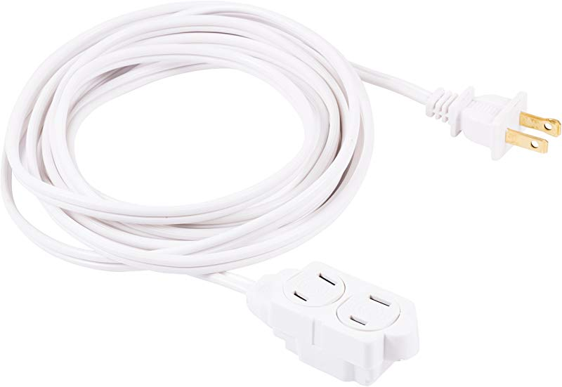 GE 12 Ft Extension Cord 3 Outlet Power Strip 2 Prong 16 Gauge Twist To Close Safety Outlet Covers Indoor Rated Perfect For Home Office Or Kitchen UL Listed White 51954