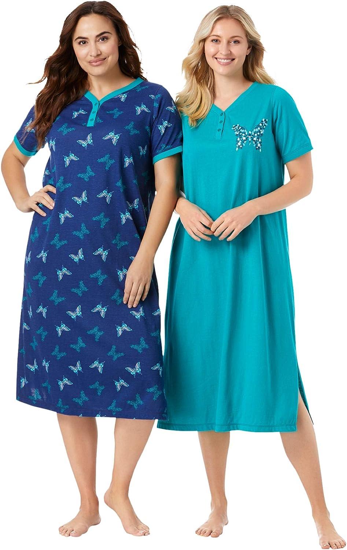 Dreams & Co. Women's Plus Size 2-Pack Long Henley Sleepshirt Nightgown - 18/20, Evening Blue Butterfly