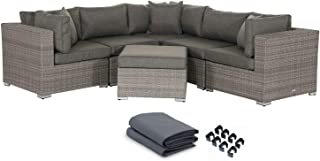 Outdoor Conversation Sets Rattan Patio Furniture No Assembly Wicker Ottoman Aluminum Outside Sectional Couch Sofa Patio Seating 6pcs Backyard Furniture w/ Free Waterproof Cover- 3Toss pillows