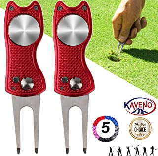 kaveno Golf Divot Repair Tool, Foldable Magnetic Pop-up Button Stainless Steel..