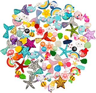 Petift 100pcs Slime Charms Cute Set Mixed Mermaid Tails,Unicorns,Ducks,Animals,Resin Flatback Slime Cabochons Beads for Kids and Adults Craft Making,Ornament Scrapbook DIY Crafts
