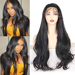 Leeven 24 Inch Natural Black Lace Wigs With Baby Hair Glueless Heat Resistant Synthetic Lace Front Wigs For Black Women Free Part Wavy Lace Wig 1B