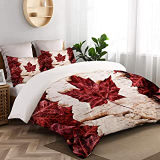 CANCAKA Flag of Canada Constructed of Maple Leaves White Birch Bark Country Symbol Home Bedding Decorative Custom Design 3 PC Duvet Cover Set King