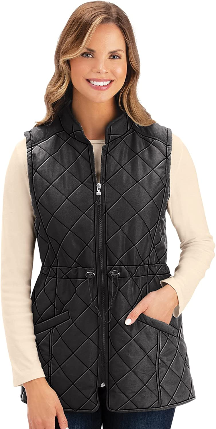 Collections Etc Women's Quilted Drawstring Larg Limited time sale Black Waist Vest Online limited product