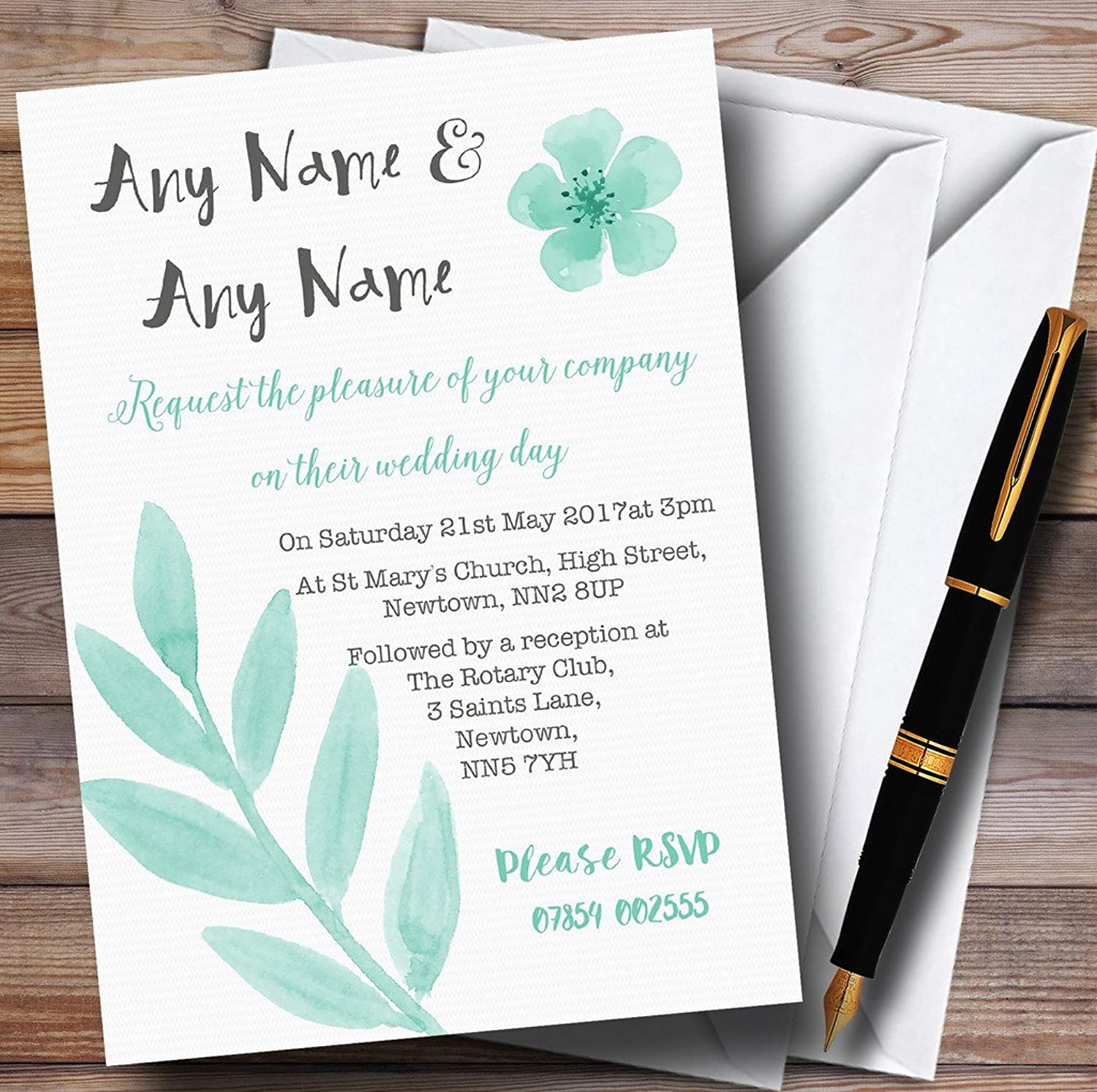 Watercolour Subtle Teal Mint Green Personalised Evening Reception Invitations   Invites & Envelopes