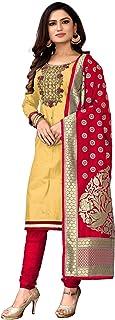 MAXIFOX Salwar Suit Dress Material Cotton Khatli Handwork With Banarasi Jacquard Dupatta For Women And Girls