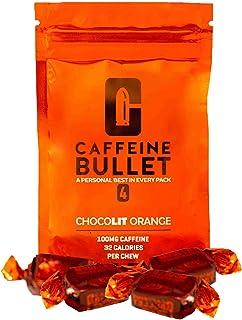 Caffeine Bullet 40 Energy Chews - Chocolate Orange Gummies: 100mg Caffeine Kick, Faster Than Running gels & Caffeine Pills for a pre Workout, mid Race, Cycling, Gaming & Endurance Sports Energy Boost