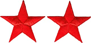 Star - Red SET OF TWO - Embroidered Sew or Iron on Patch