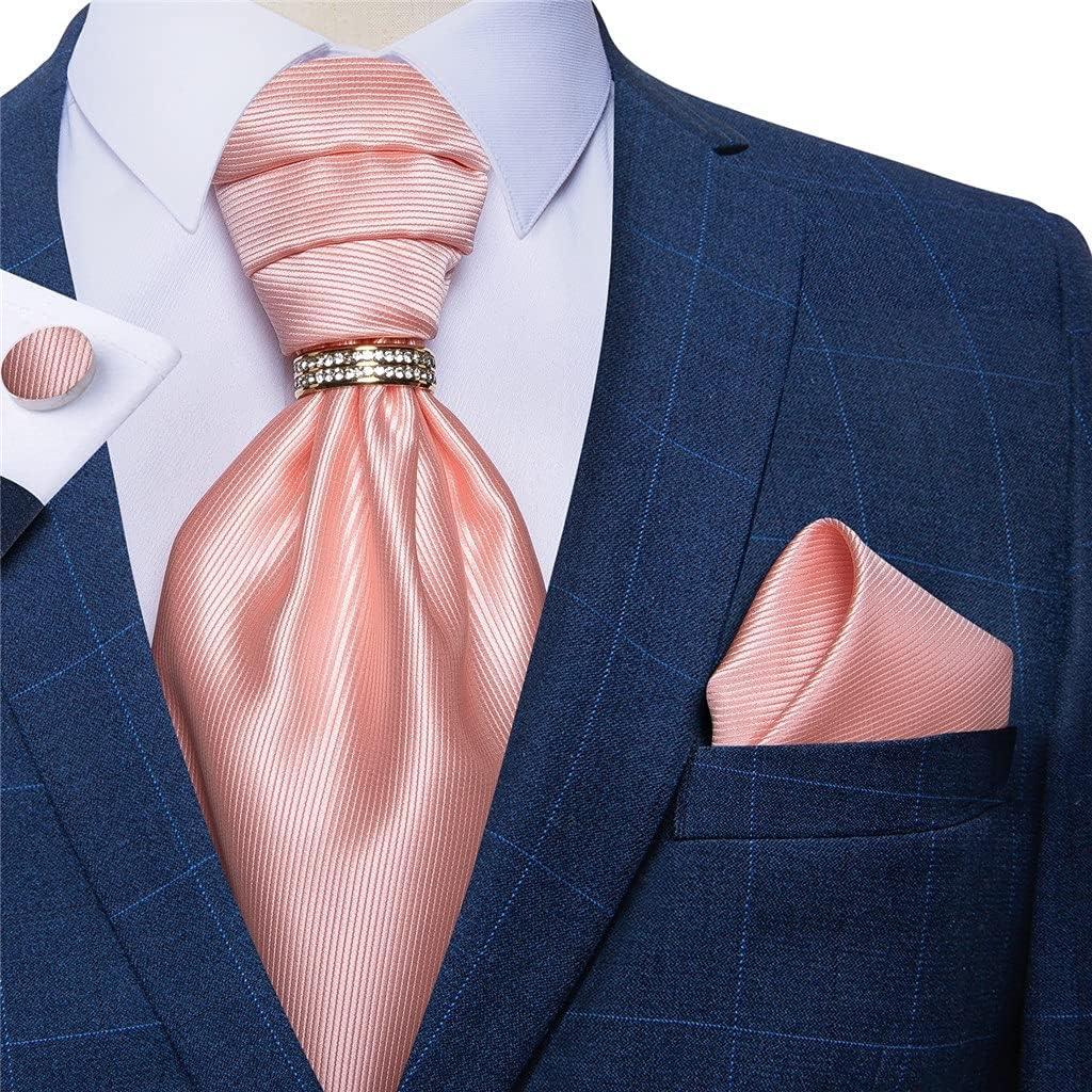 ZLBYB Men Vintage Pink Wedding Formal Cravat British Style Gentleman Silk Neck Tie Pocket Square Set (Color : Gold Ring, Size : One Size)