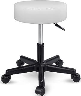 TRESKO Taburete con ruedas taburete giratorio cosmético de trabajo consulta, regulable en altura, giratorio en 360°, con asiento acolchado de 10 cm y 8 variantes de colores (Blanco)