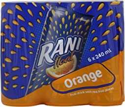 Rani Float Orange Fruit Juice with Real Fruit Pieces in Can, 6 x 240 ml