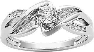 De Couer 10k White Gold 1/6 ct TDW Diamond Split Shank Engagement Ring (I-J, I2)
