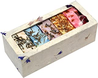 Touch Nature 5 pc 60gm Handmade Natural Flower Bar and Castile Soap with Nepali Handmade Paper Box. No Sulphates and Parabens. Eco-friendly Gift Set for Men & Women. 100% Vegan Soap.