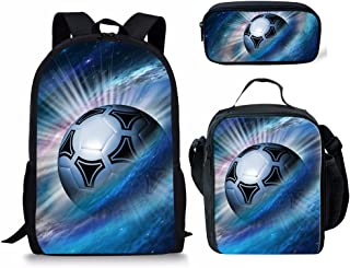 3D Soccer Ball Pritned Backpack Kids Boys School Bag with Lunch Box Pencil Case 3 Piece Bags Set