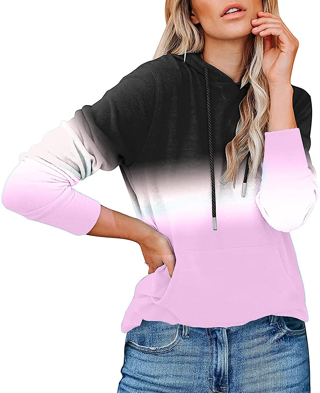 FABIURT Sweatshirts for Women Casual Gradient Printed Sweatshirt Pullover Long Sleeve Jumper Hoodies Blouses with Pocket